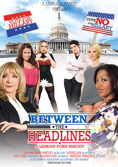 Between The Headlines: A Lesbian Porn Parody Front Cover (PG Edit)