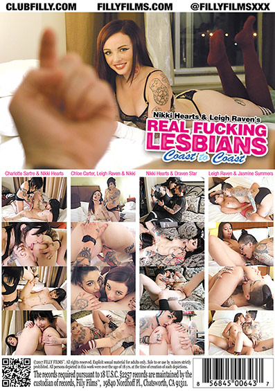 Nikki Hearts & Leigh Raven's Real Fucking Lesbians: Coast To Coast DVD back cover